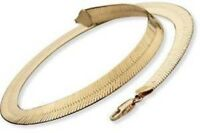 """14K Yellow Gold plated Necklace Chain 10mm Herringbone 20"""""""