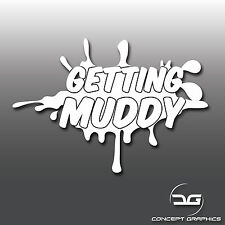 Getting Muddy 4x4 Off Road Rally Novelty AWD Jeep Car Vinyl Decal Sticker