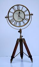 Antique brass clock with adjustable leather tripod stand home & office decor