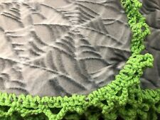 Fleece Blanket/throw Grey With Cobwebs And Spiders Hand Crocheted Around Edges 5