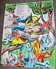 MARVEL Comics WOLVERINE KILLS SMURFS Original Art Painting Logan X-MEN JEAN X-23
