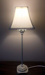 """Antique Style Tall 21"""" Slim Candle Stick Table Lamp With Shade Cream Footed Base"""