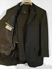 Burberry London Mens Gray Check 3-Button Wool Double Vented Suit 43R