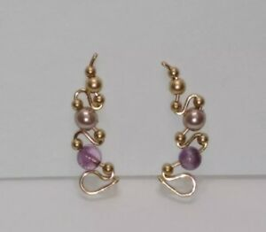 Ear Crawler Earrings Gold With Amethyst and Pearl Beads - Handmade