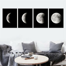 Moon Phase Decor Canvas Painting Black White Art Poster Graphic Wall Picture