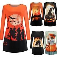 Women Halloween Pumpkin Cat Witch Shirt Dress Lady Fancy Dress Loose Long Tops