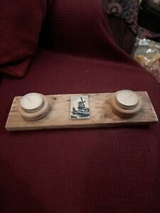 Handmade Reclaimed Wood Tealight Holder with candles