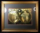 Old World Italian Style Gold Foiled World Map Framed Matted Glass Wall Art 22x18