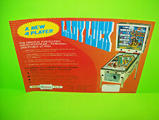 Recel LADY LUCK 1976 Original Flipper Game Pinball Machine Promo Sales Flyer