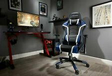 Used X Rocker Agility Faux Leather Gaming Chair - Black & Blue-See My Buy It Now