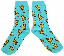 LADIES PIZZA OVERLOAD! TURQUOISE BLUE SOCKS UK SIZE 4-8 EUR 37-42 USA 6-10