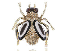 Clear Gold Crystal Rhinestone White Enamel Flying Bug Bee Insect Bug Pin Brooch