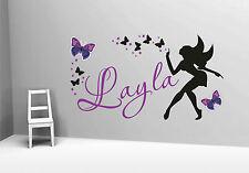 Hermosa mariposa de hadas estrellas Nena Vinilo Arte Pared Nombre Personalizado