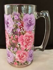 Pink and Purple Roses Hand Painted Large Beer Mug Bar Glass