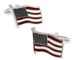 Men'S American Flag Cufflinks Mens Novelty Silver Zinc Alloy Cuff Links Gift