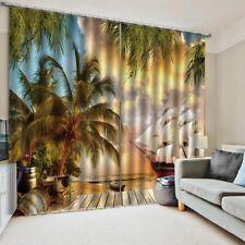 Seaside Coconut Tree Landscape Curtains Home Room Blackout Window Drapes 2 Panel