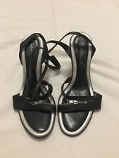 Ladies High Heeled Sandals size 37 (UK 4) Black with silver heels