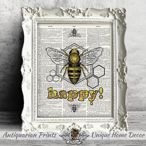 Bee Happy, Art Print on Antique Dictionary Book Page, Positivity Motivational