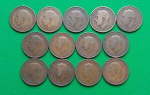 Coins British Half Penny 1912-1936