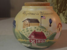 """Russ Berrie COUNTRY GATHERINGS Stoneware Jar Crock  """"HAPPINESS IS HOMEMADE"""""""