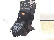 97267-15VW/002S Harley Womens Graphics Mesh Black Leather Fingerless Glove