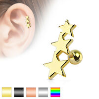 Three Stars 316L Surgical Steel Helix Tragus Cartilage Barbell Stud Earring
