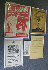 Vintage 1940s Magician Sir Felix Korim Lot: Programs, Ticket, Advertising