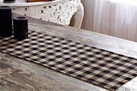 """BURLAP BLACK CHECK 36"""" Table Runner Primitive Khaki Rustic Plaid Natural Tan NEW"""