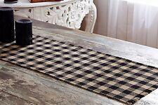 """BURLAP BLACK CHECK 48"""" Table Runner Primitive Khaki Rustic Plaid Farmhouse VHC"""