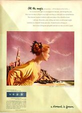 "1952 DeBeers  ""Lover's Light"" painted by Charles Rain for collection PRINT AD"