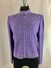BEAUTIFUL St John collection knit purple black jacket size 8
