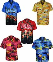 New Mens Big Size Hawaiian Shirt Beach Hut Palm Party Stag Night Size S-6XL