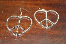 """Earrings Silver Tone Pierced Heart  """"Peace Symbol""""  2"""" By 2"""""""