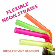 200 Flexible Drinking Disposable Plastic Straws Cocktail Party Neon Colour Bendy