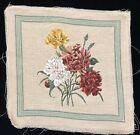 "Vintage Floral Needlepoint 16x16"" Beige Tapestry Panel - READ (RF1049)"