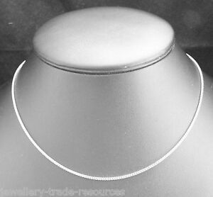 """18ct WHITE GOLD NECKLACE CHAIN OR PENDANT FRANCO 16"""" or 18"""" INCHES 1.5mm WIDE"""