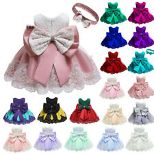 Kid Baby Girls Embroidery Princess Dress Party Wedding Flower Lace Bow Dresses