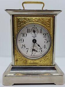 Antique Working German Victorian Carriage Clock Swiss Musical Alarm clock, CLEAN