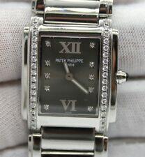 PATEK PHILIPPE 24 STAINLESS STEEL BROWN DIAMOND DIAL & DIAMOND BEZEL 30mm x 25mm