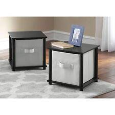 SIDE END TABLE Bedroom Nightstand Black Bedside Furniture Storage Shelf SET OF 2