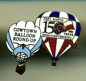 Cowtown Balloon Round-Up Fort Worth 150 Sesquicentennial Pin