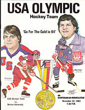 USA OLYMPIC TEAM VINTAGE 1984 PROGRAM VS BOSTON UNIVERSITY MIKE ERUZIONE HOCKEY