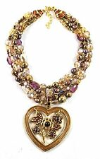 Jay Strongwater Nicolette Floral Heart Pendant Necklace Bronze