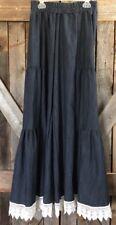 L&B Palazzo Ruffle Pants W/lace Fringe Trim Size Small Denim