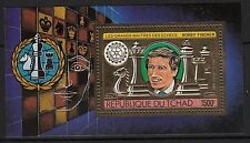 K46) Timbre/Bloc OR/GOLD Stamp (Neuf**MNH) TCHAD Bobby Fischer (échecs) 1982
