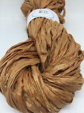 Sari silk ribbon, bronze, silk recycled ribbon. 5 yard mini. Knit weave.