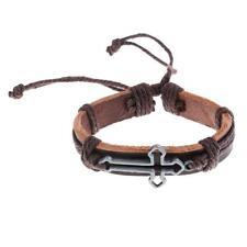 Unisex Punk Bracelet Leather Bangle Gothic Cuff Christian Wristband Trinket