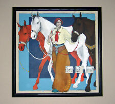 REDUCED 33%! LARGE ORIGINAL PAINTING of HORSES & COWGIRL by DONNA HOWELL-SICKLES