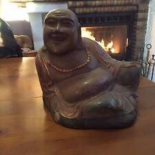 statue sculpture bois massif bouddha ancien polychrome old big buddha