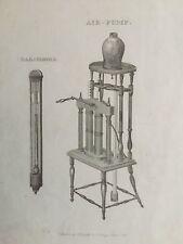 1813 Antique Print; Air Pump & Barometer